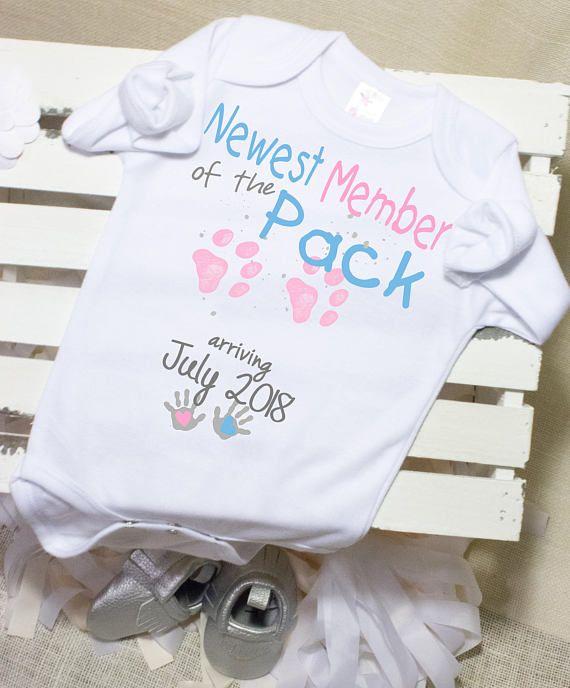 ff975b527 Pregnancy Announcement Onesie®, Newest Member of the Pack Onesie®, Pregnancy  Reveal, Dog Print, New