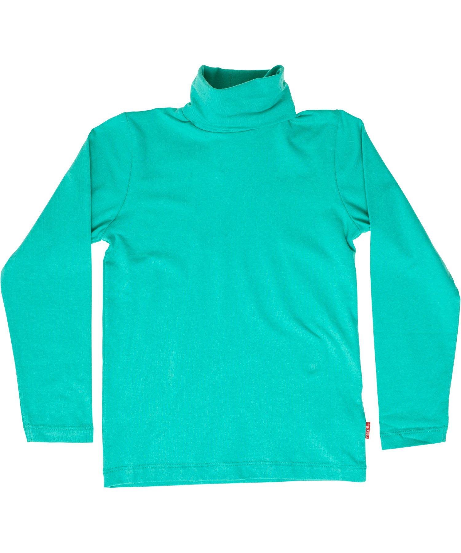 Name It muntgroene basis t-shirt met rolkraag. name-it.nl.emilea.be