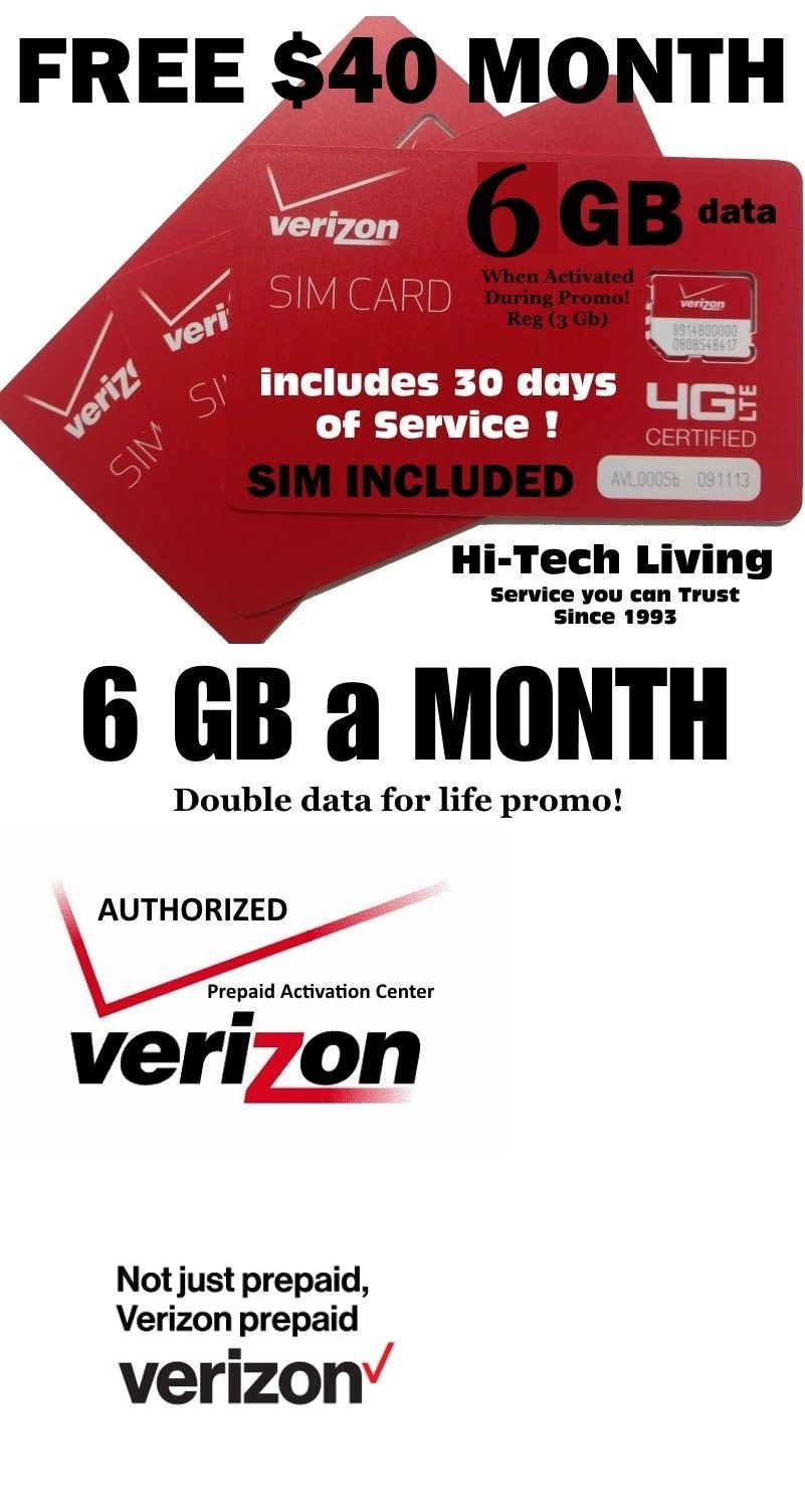 Verizon Sim Card With 40 Plan 30 Days Service 6gb D A T A
