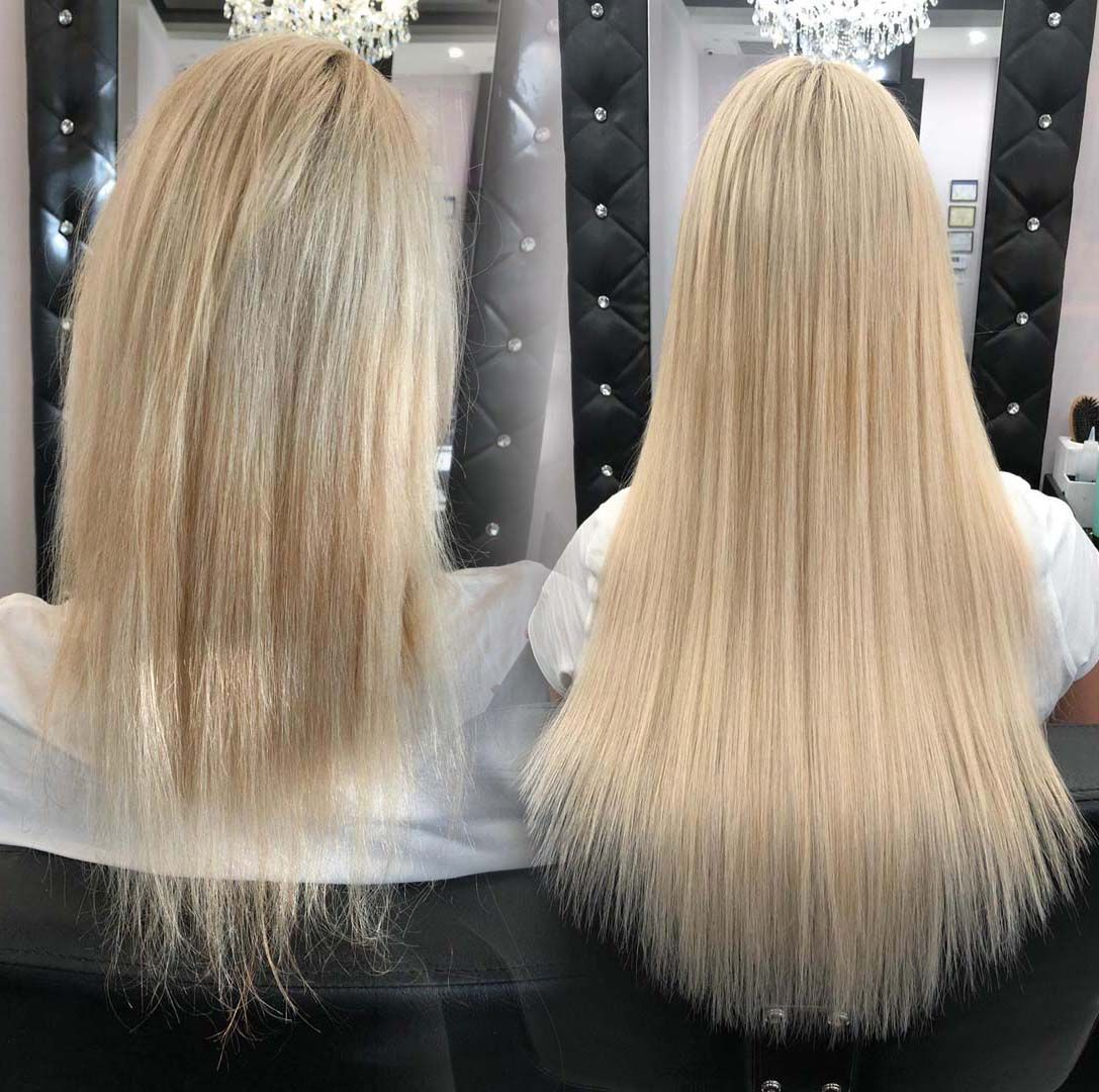 Before and After the Hair Extensions Specializing in