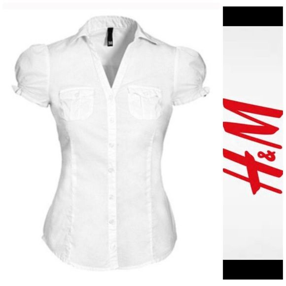 H&M white top don't just like it .... send me an offer and I'm happy to negotiate   Size 4. (First picture is for the purpose of showing fit. It is of similar style but with fuller sleeves.) let me know if you have any questions  H&M Tops