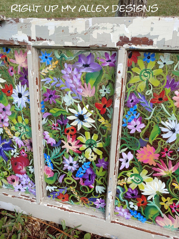 Old Painted Window Window Pane Art Floral Painted Window Repurposed Window Antique Window Window Wall Art Windo Window Pane Art Window Painting Antique Windows