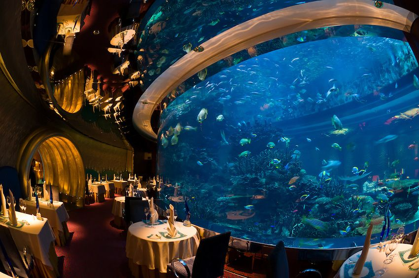 The Underwater Themed Al Mahara Restaurant In The Burj Al Arab Hotel Dubai United Arab Emirates Underwater Restaurant Underwater Hotel Dubai Holidays