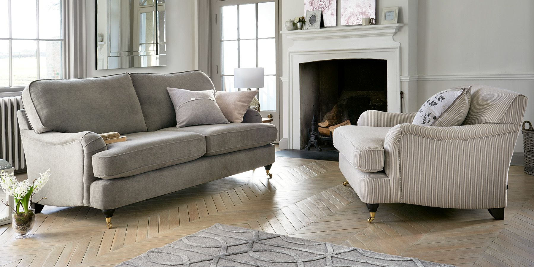Buy Ophelia Formal Back Large Sofa (3 Seats) Boucle Weave