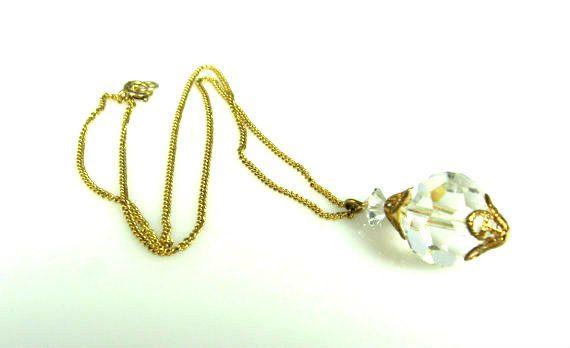 Vintage Aurora Borealis Crystal Necklace 1/20th 12K GF Short Chain