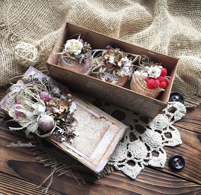 Моя мастерская: Оригинальные елочные украшения в подарочной коробке для блога МСК