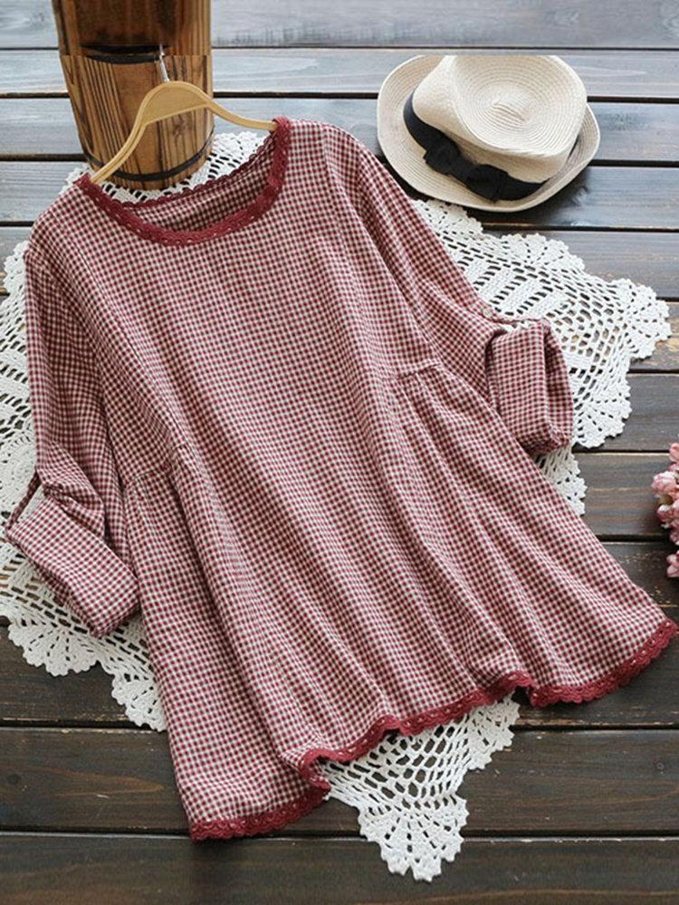 11f6532e7dac55 Plaid Long Sleeve O-neck Vintage T-shirts For Women #BlousesShirts #Tops