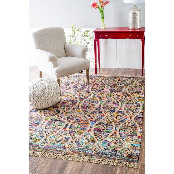 NuLOOM Flatweave Modern Striped Diamond Cotton Multi Rug