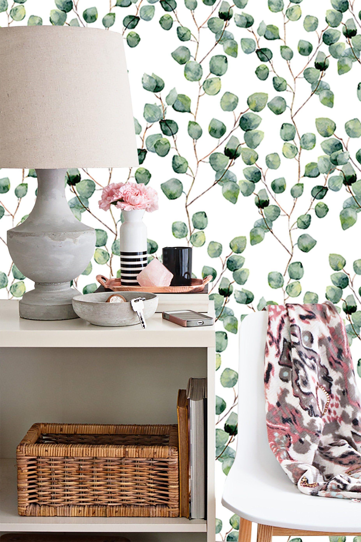 Eucalyptus Peel And Stick Wallpaper Temporary Wallpaper Etsy Peel And Stick Wallpaper Temporary Wallpaper Wallpaper Furniture