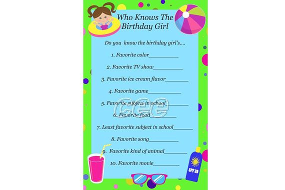 Pool Party Birthday Game For Girl Beach Instant
