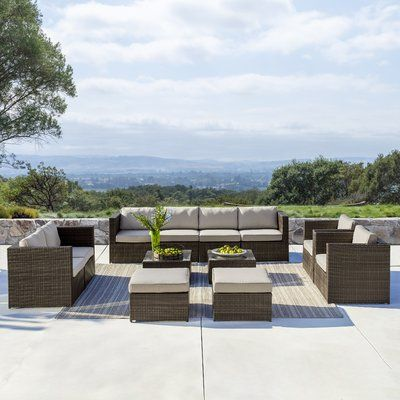 Sol 72 Outdoor Midland 12 Piece Rattan Sectional Seating Group with Cushions | Wayfair #resinpatiofurniture