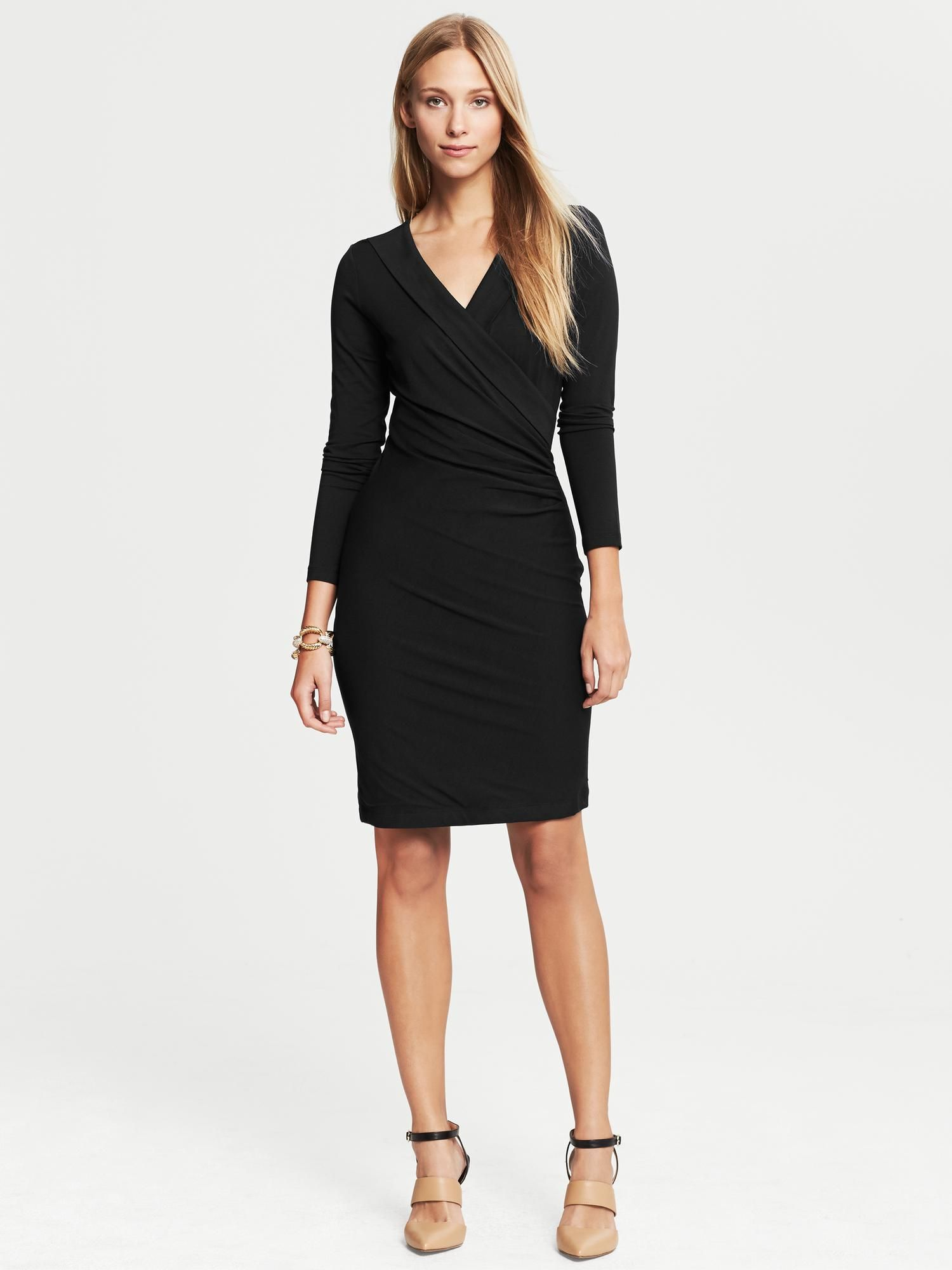 e474988818 Women s Black Faux-Wrap Dress