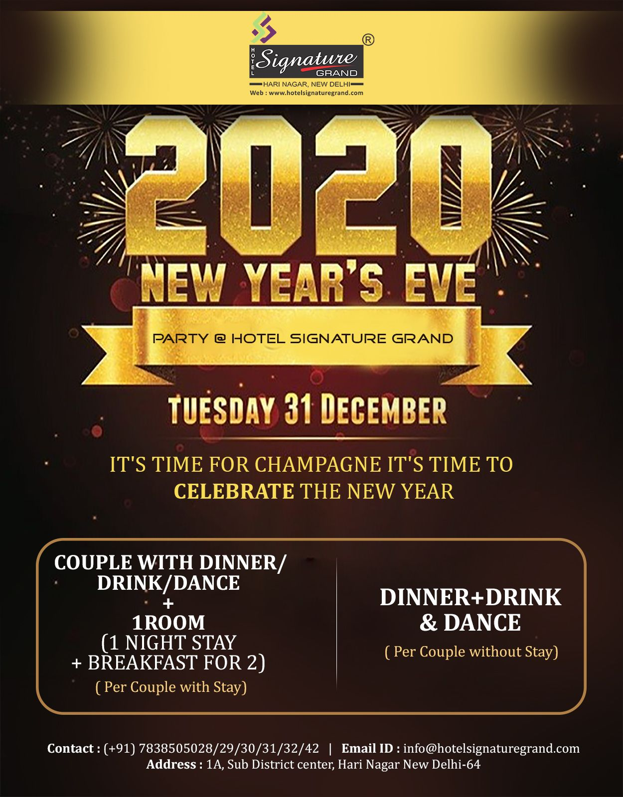 New Year 2020 New Years Eve Party Wedding Facility New Year 2020
