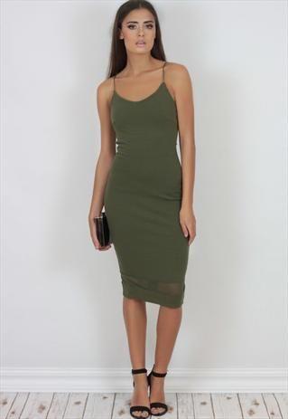 new concept outlet official photos Khaki Green Spaghetti Strap Bodycon Mesh Midi Dress | Khaki green ...