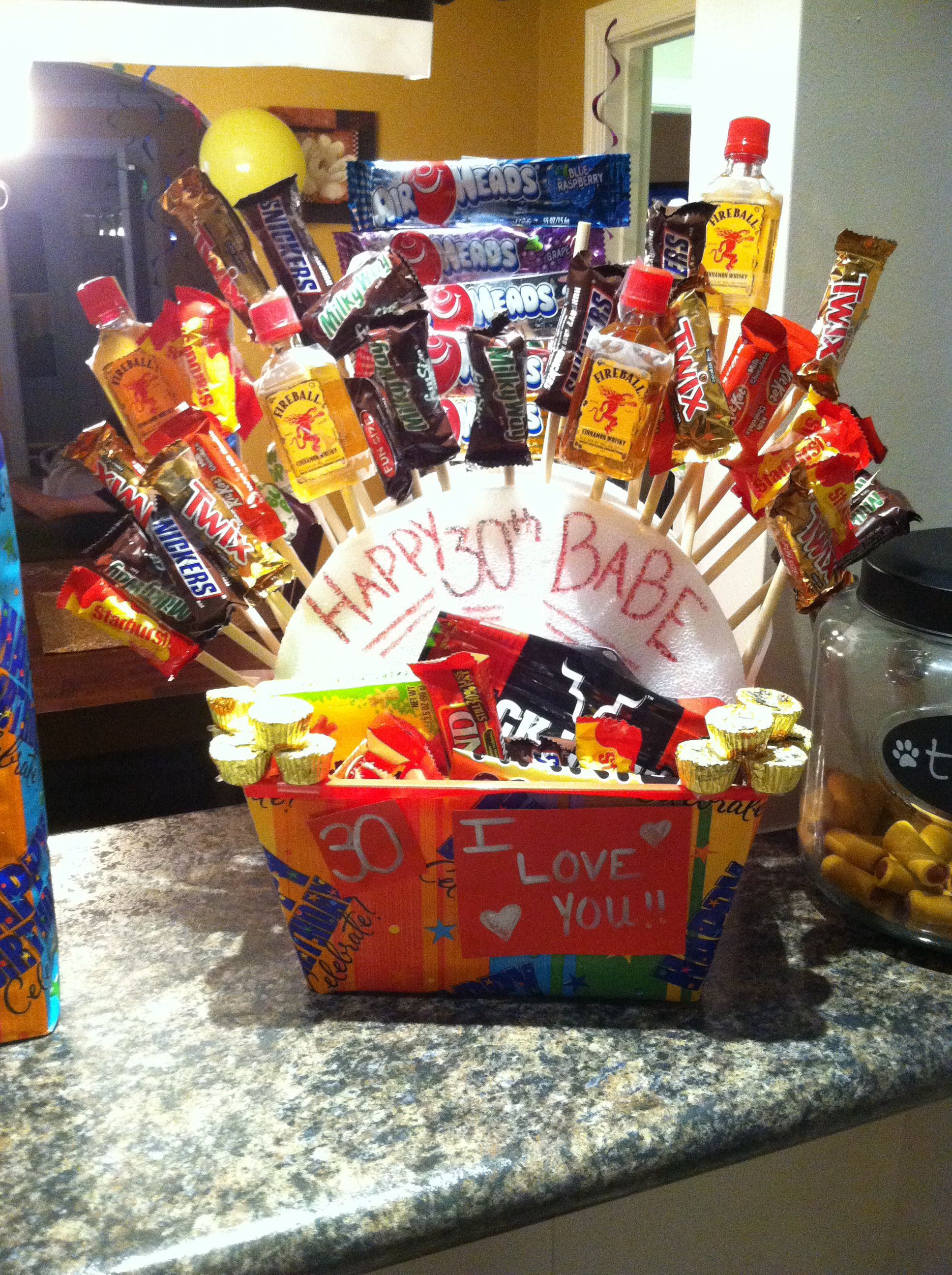 Happy 30th Birthday Manly Gift Basket For My Amazing Boyfriend Really Easy To Make Fun Fireball Nips His Favorite Candy Beef Jerky Etc
