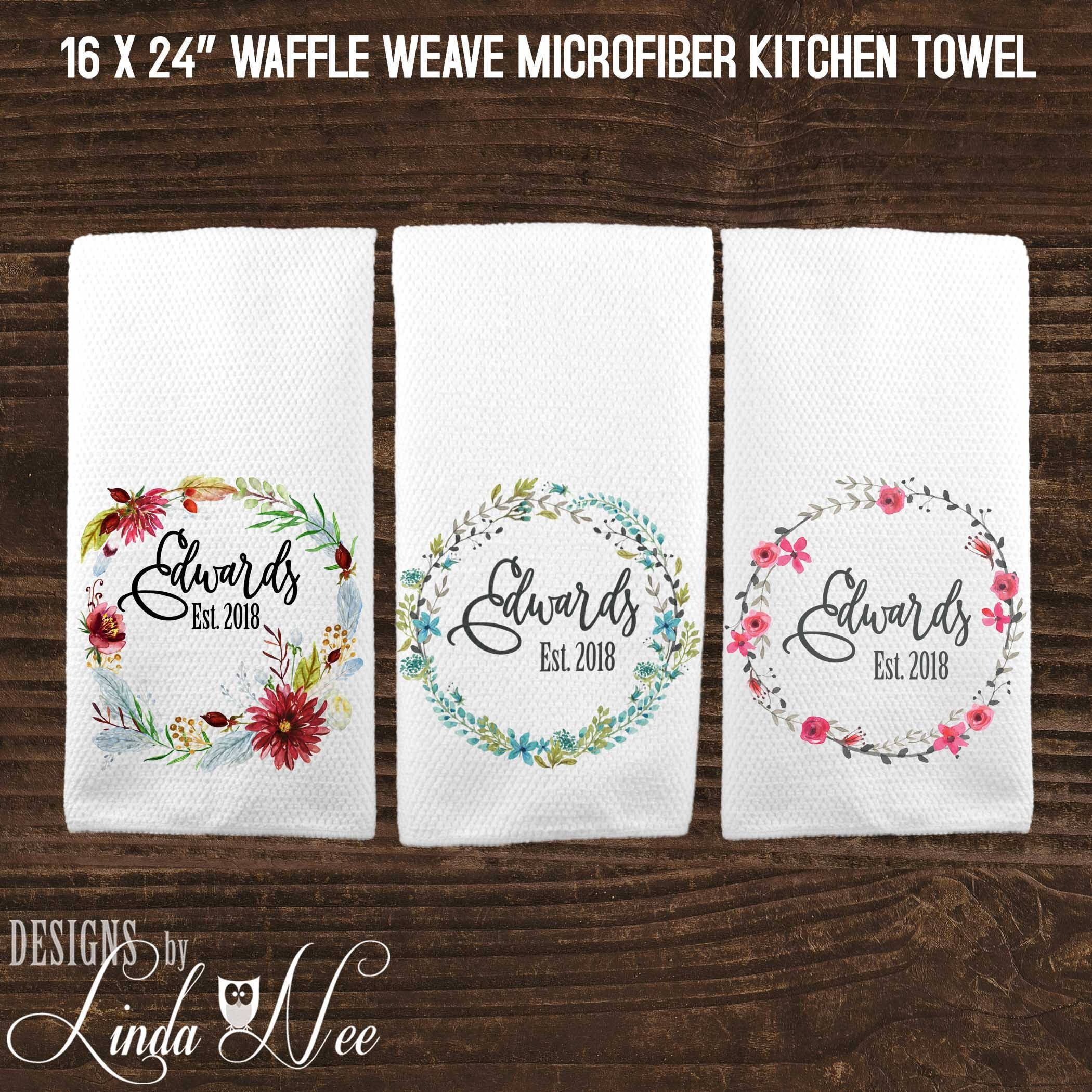 Personalized Kitchen Towel, Custom Wedding Gift, Housewarming Gift, Dish Towel,
