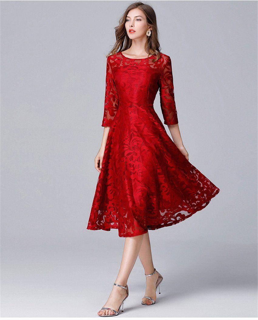 4xl 5xl Plus Size Dress High Quality Women Fashion 2018 Red