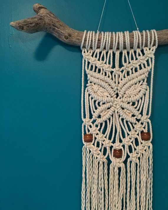 Beaded butterfly macrame wall hanging on natural driftwood - Tapices de macrame ...