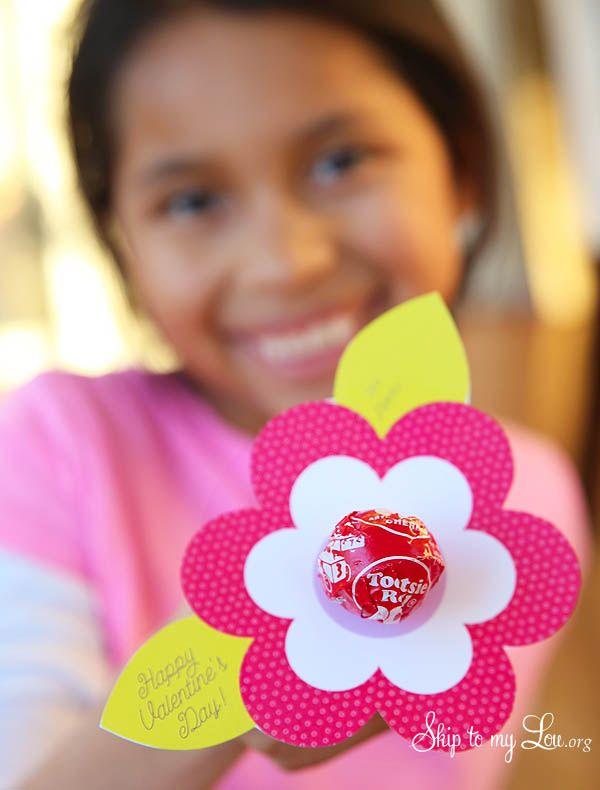 Lollipop Flower Valentine Printable Getting Crafty  DIY