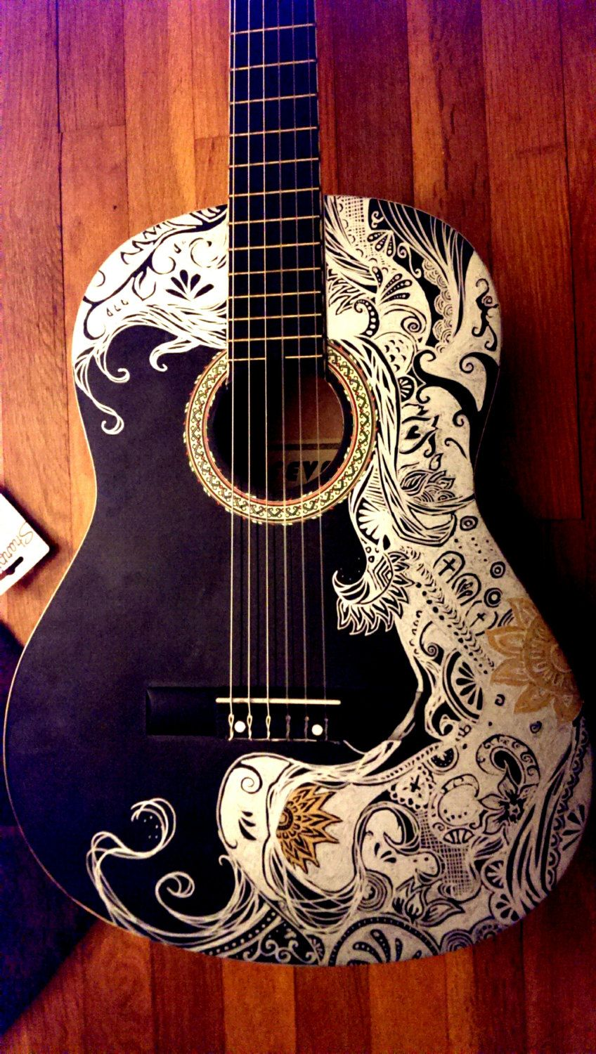 sharpie guitar abstract la negra by thanotech on etsy arte guitar painting guitar. Black Bedroom Furniture Sets. Home Design Ideas
