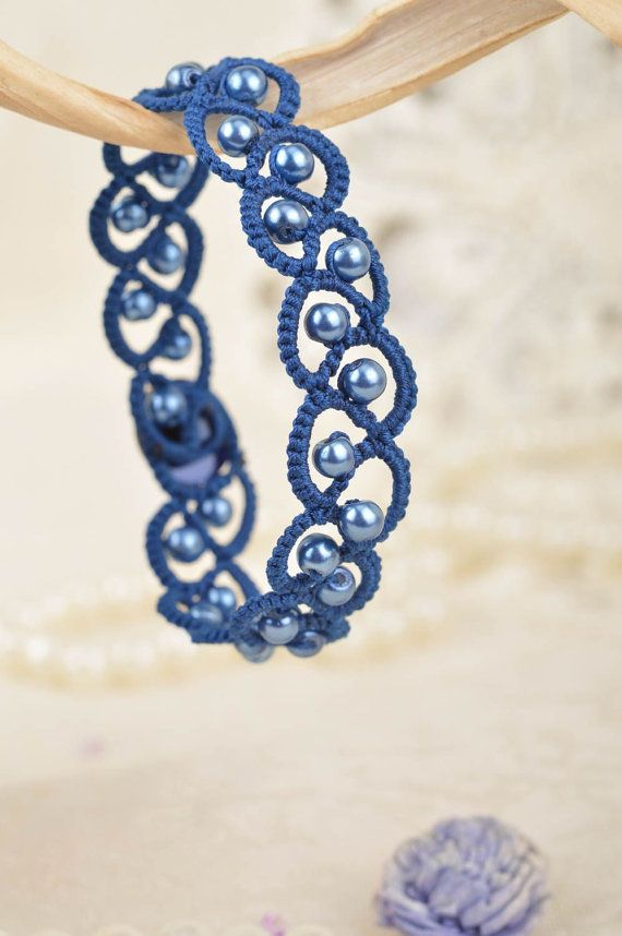 Handmade Tatted Bracelet With Blue Beads By Bestbijoustore
