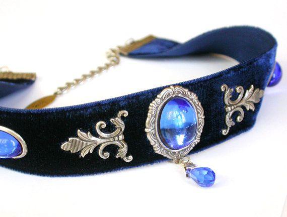 Blue Velvet Victorian Choker Sapphire Glass by LeBoudoirNoir