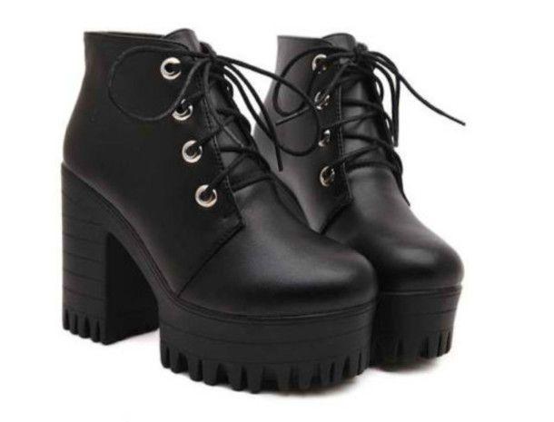 Gothic Platform Shoes  | Shoes: platform shoes, soft grunge, grunge, black, heels, platform ...