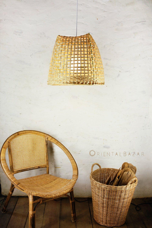 Bamboo Pendant Light Repurposed Basket Ceiling Lamp Minimalist