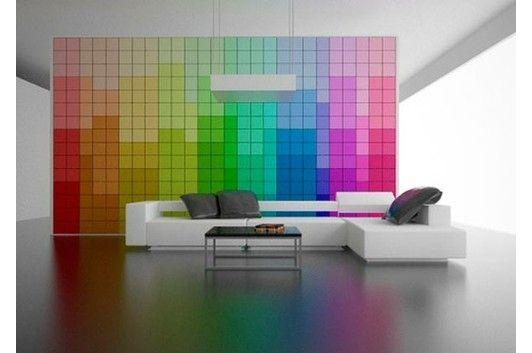 Inspiratie beeld. Kleurrijke wand met tegels