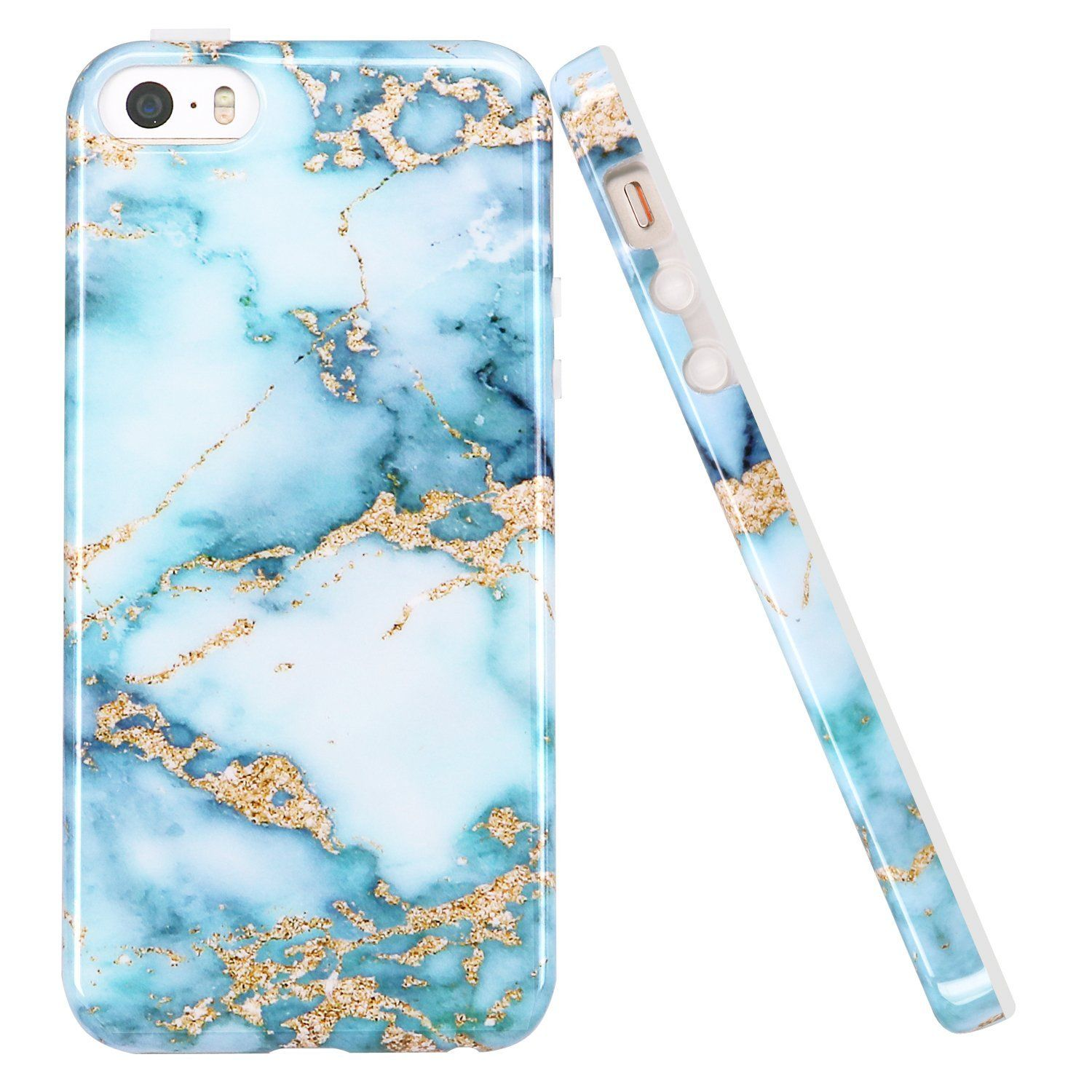 new style 6a43c f795d Amazon.com: iPhone 5 5S Case, LUOLNH Aquamarine and gold Marble ...