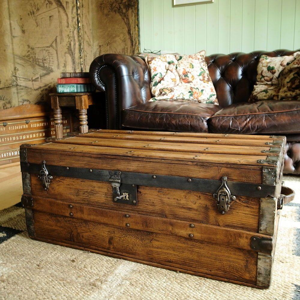 Steamer Trunk Coffee Table Ideas: VINTAGE STEAMER TRUNK Pine Chest VICTORIAN TRAVEL TRUNK