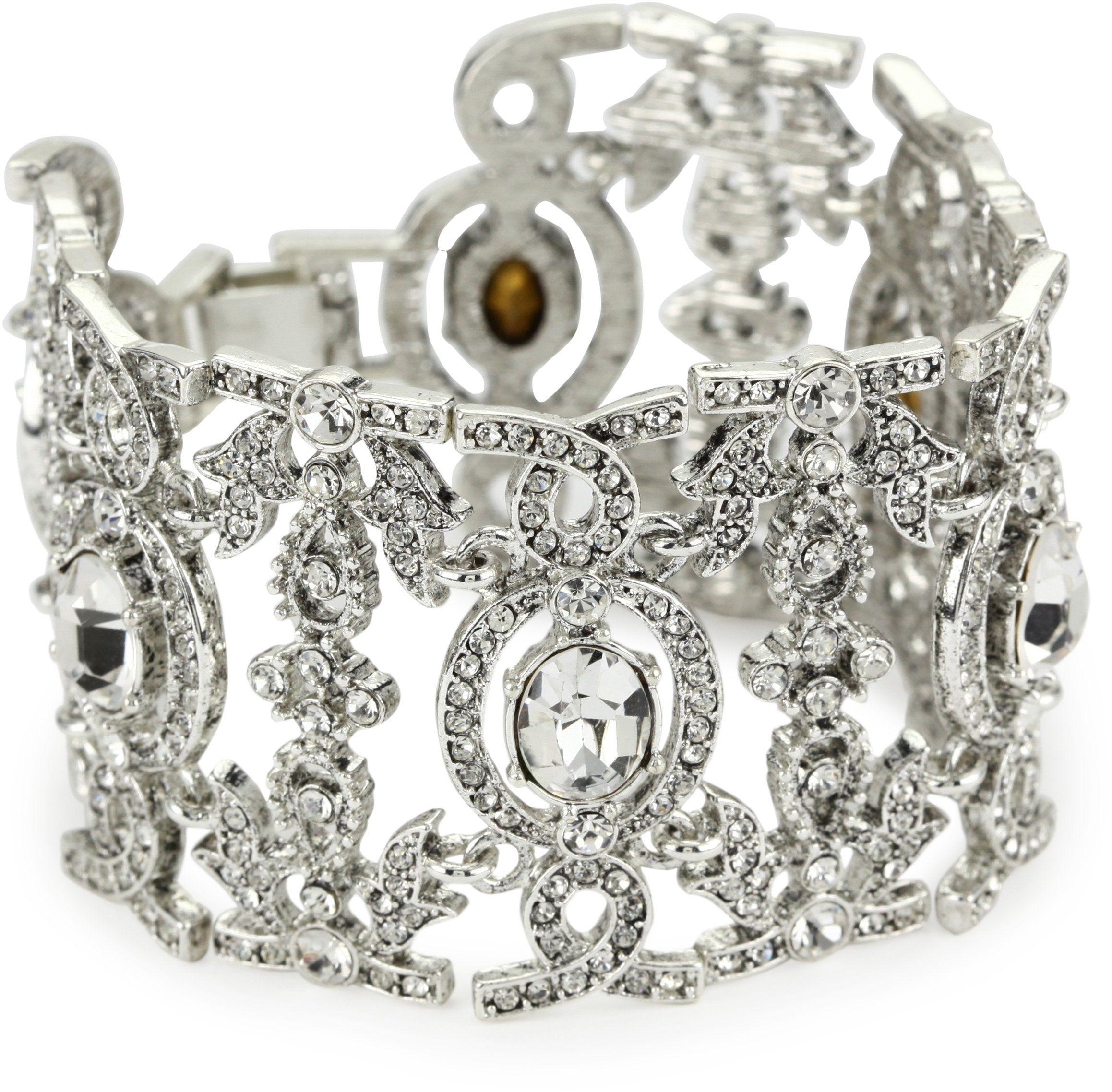 Jewelry nina uangelicau antique silver crystal statement bracelet
