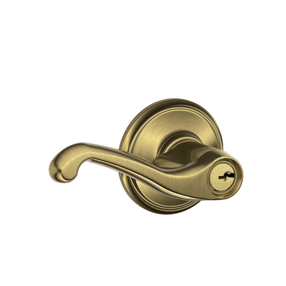 Antique brass front door knobs  Flair Lever Keyed Entry Lock  Door levers Key and Products