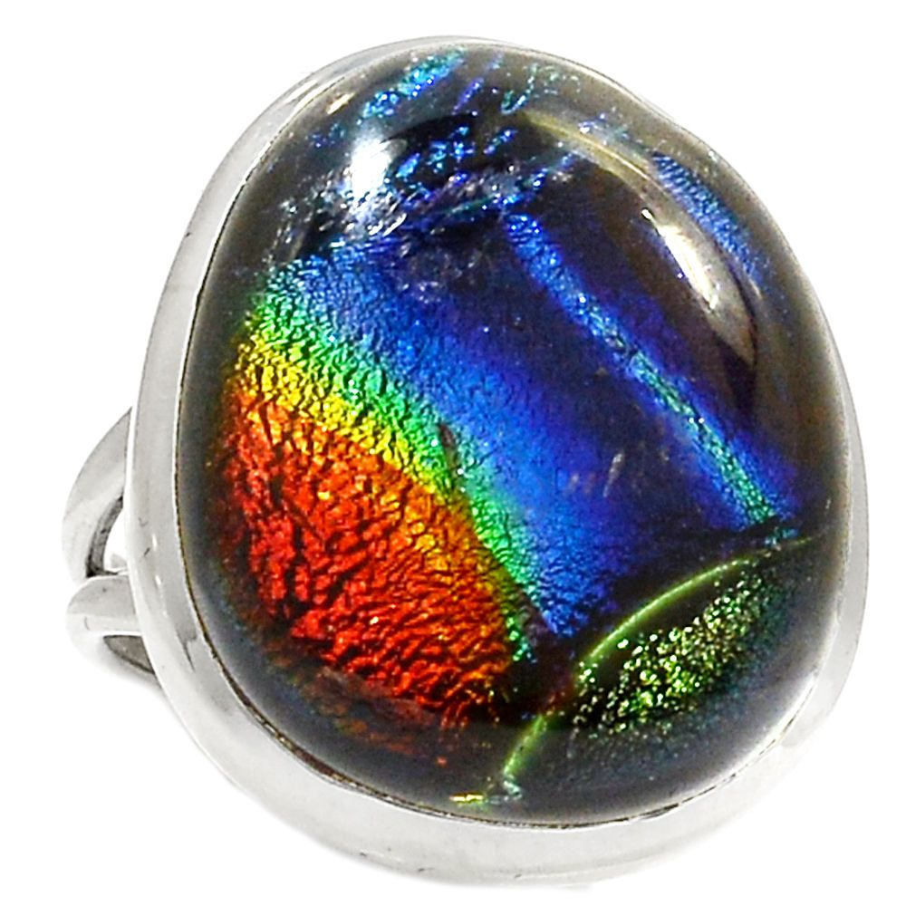 Dichroic Glass 925 Sterling Silver Ring Jewelry s.6 RR24175   eBay