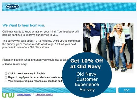 Complete The Old Navy Customer Experience Survey To Receive A