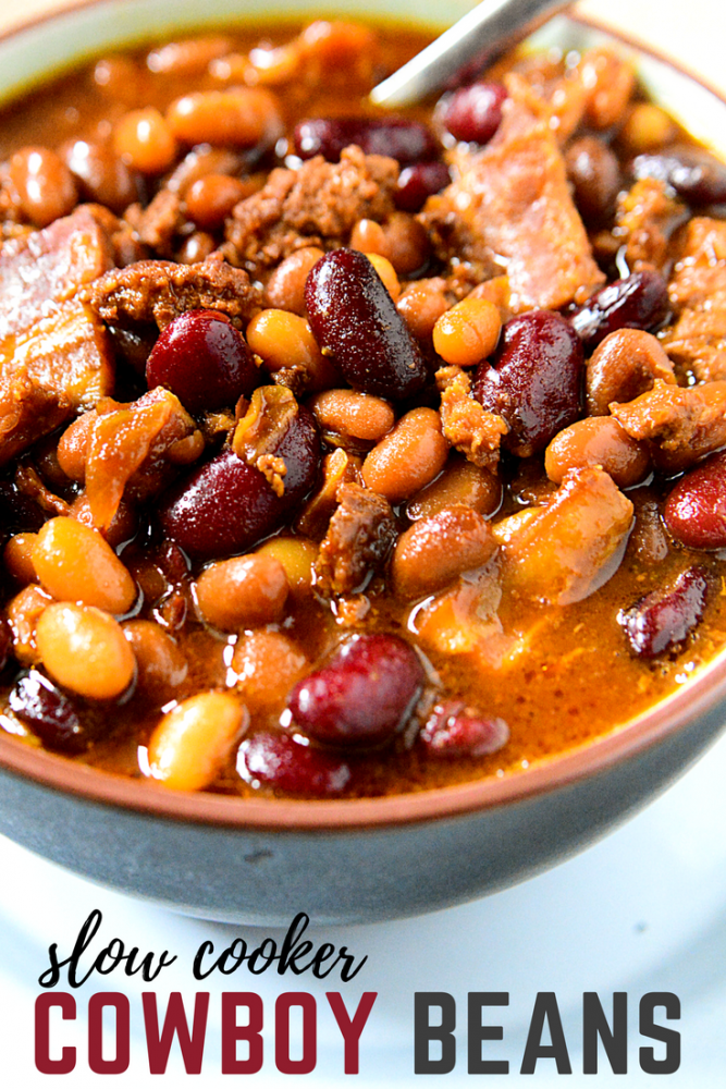Ground Beef Bacon Onions And Three Varieties Of Beans This Crockpot Baked Beans Recipe Is The Perfect Opt Baked Bean Recipes Bean Recipes Cowboy Baked Beans