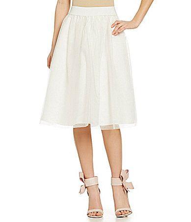 Soprano Tulle Midi Skirt #Dillards White tulle skirt. Spring 2015
