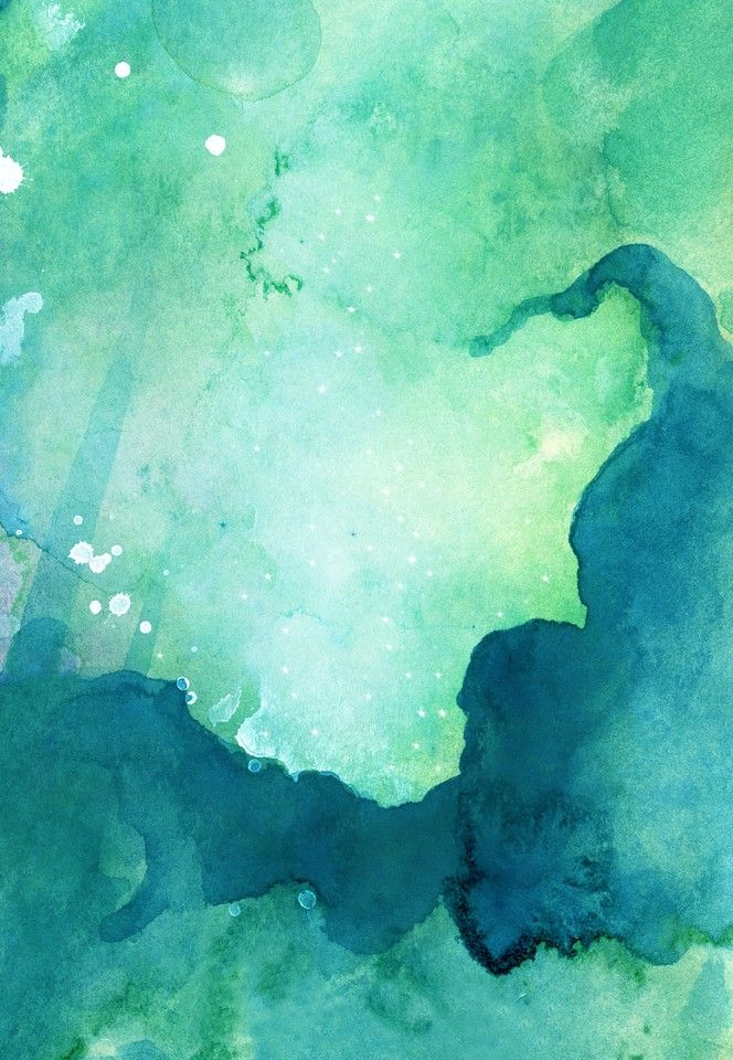 Abstract painted original cold green watercolor background