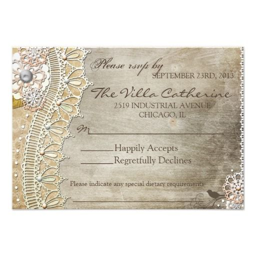 Rustic Lace Distressed Wedding Reception RSVP Personalized Invite