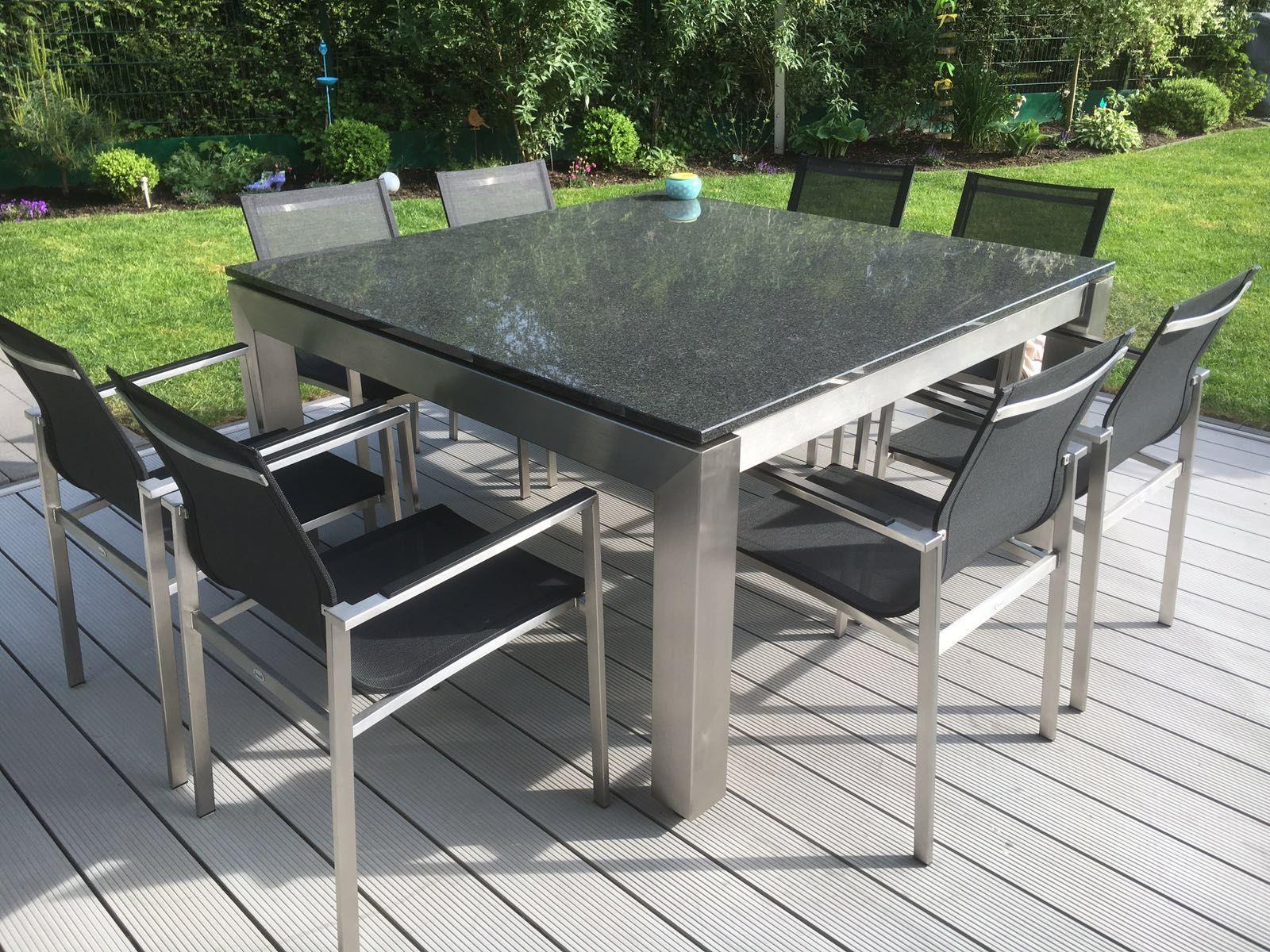 Edelstahltisch Mit Granitplatte Kann Sich Sehen Lassen Gartenmobel Terrassen Tische Gartenmobel Edelstahl