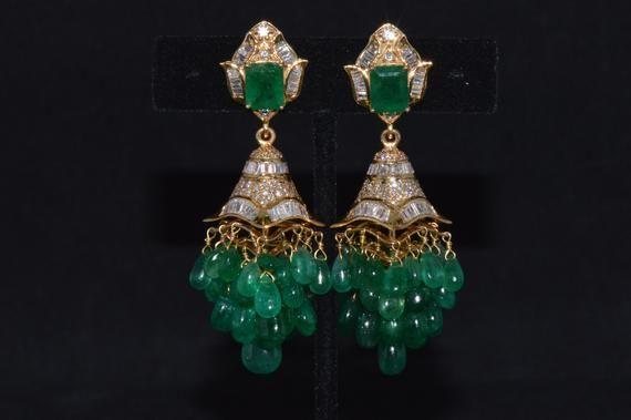 Emerald Earrings - Diamond Earrings - Fine Natural