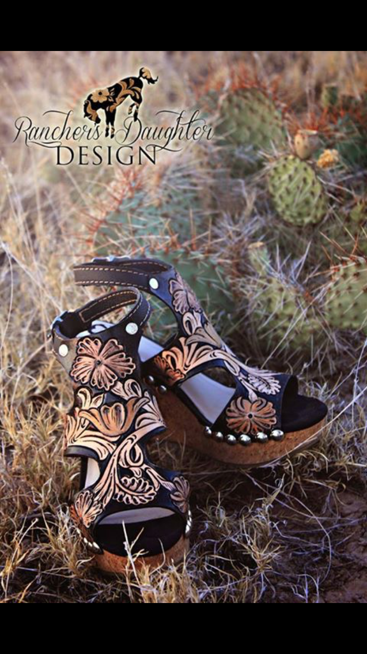 d8d0e19480d910 Women s hand tooled wedges  ranchersdaughtersdesign  handmade  wedges   westernfootwear  tooledleather