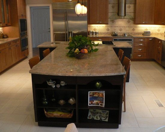 T-shape Kitchen Island Design, Pictures, Remodel, Decor and Ideas