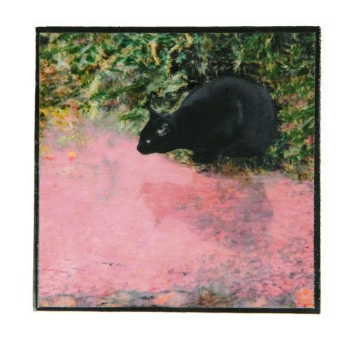 Black Cat in Monet's Garden Cat Refrigerator Magnets