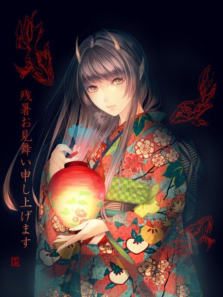 Anime Demon Girl In Kimono