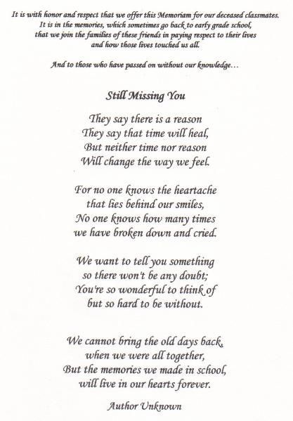 class reunion memorial poems found on jhsclass1988classquestcom
