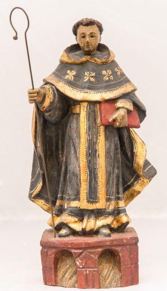 Imagem em madeira policromada representando São Gonçalo - Bahia, século XIX. Alt. 30cm. Não vendida. Preço base 1.300,00