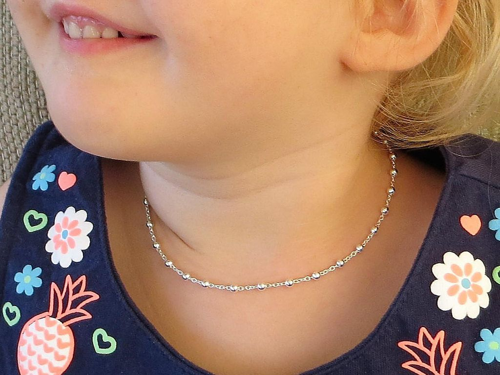 Sterling Silver Necklace For Little Girls Super Sweet Baby Mom N Bab Blouse Layla White Size 3t With Beads And Chain Babynecklace