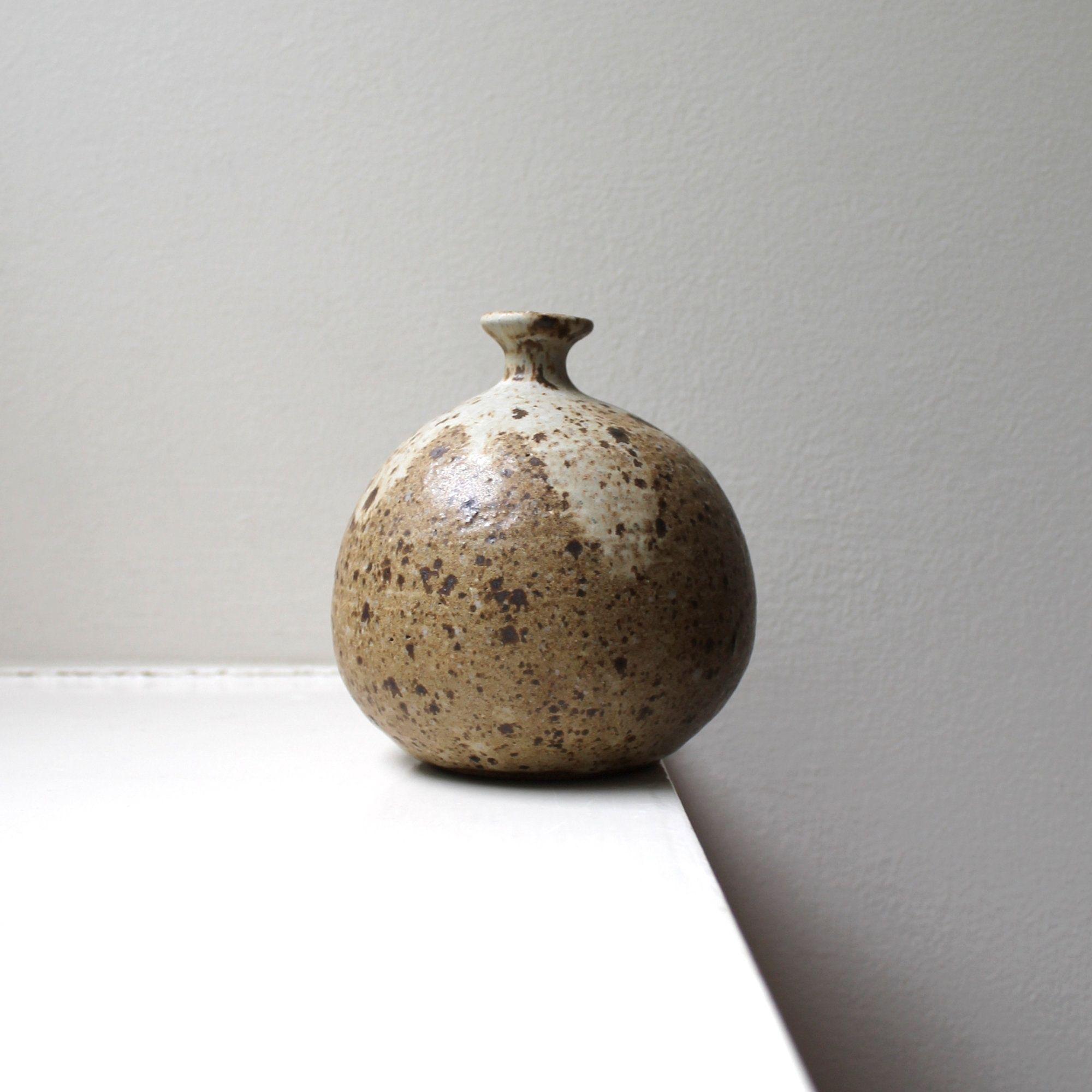 Medium Hand Thrown Vase  Dark Brown Clay Vase Glazed with High Gloss Clear Glaze