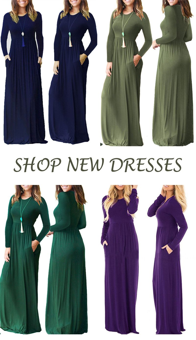 Loose plain casual pockets maxi dress in dresses pinterest